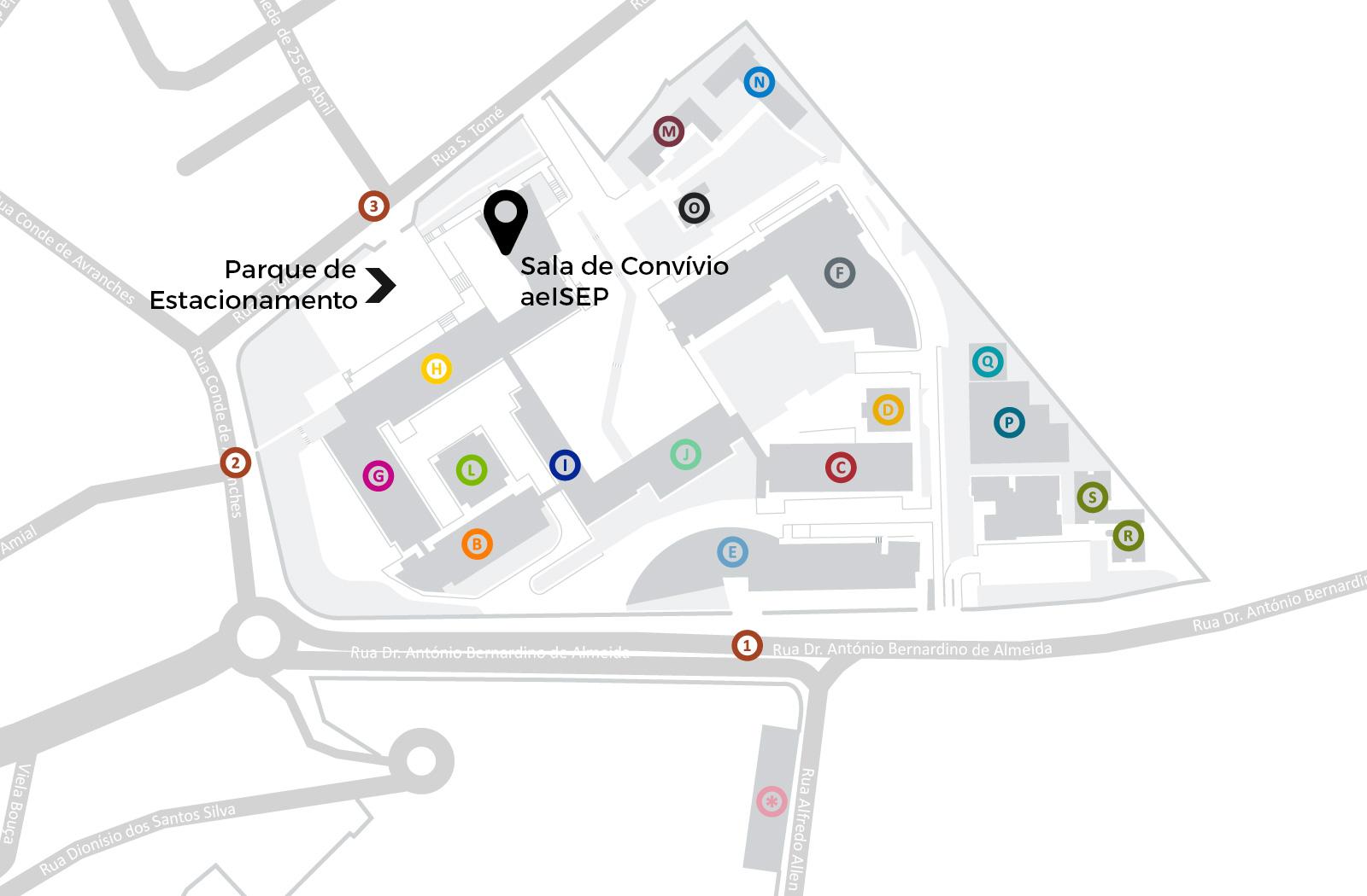Mapa com Indicações para o Versus (Parque de Estacionamento e Sala de Convívio da aeISEP)